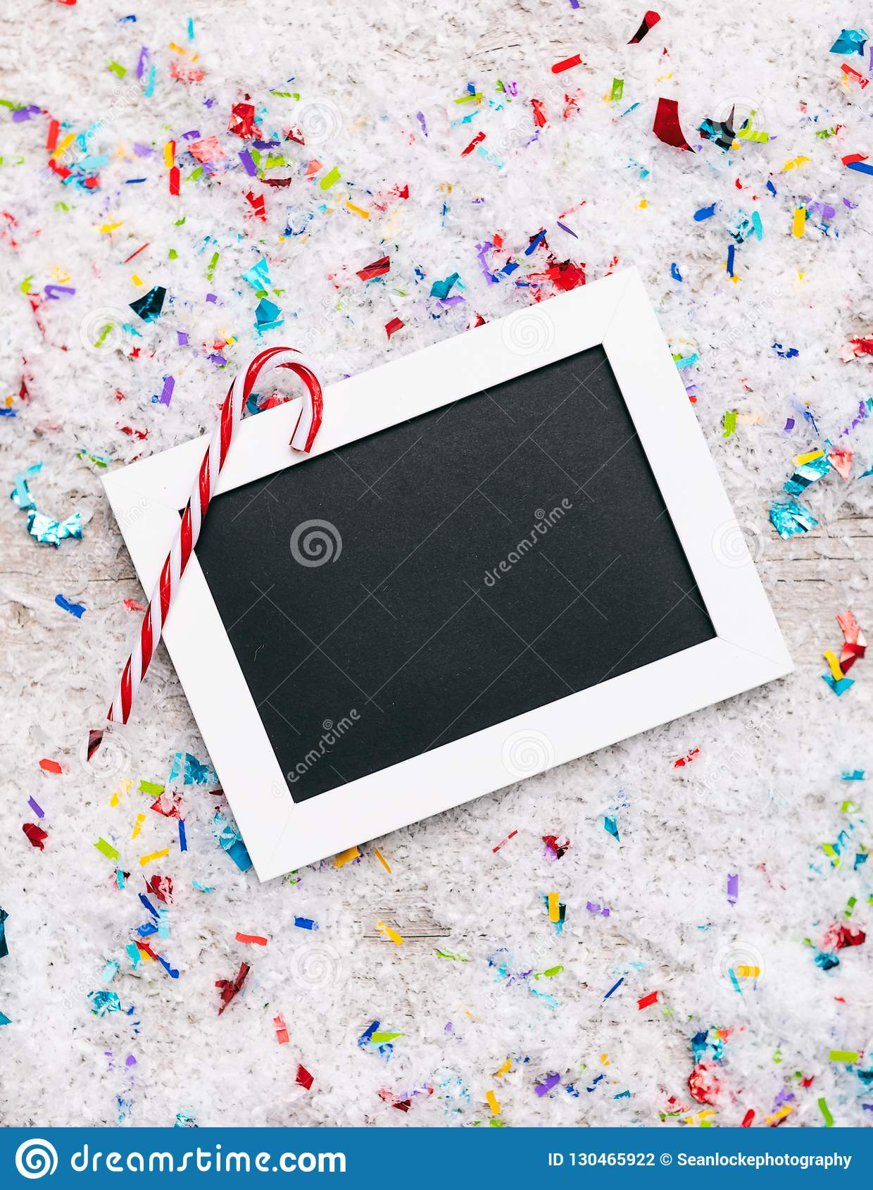 Holiday Candy Cane On Sign With Space For Copy On