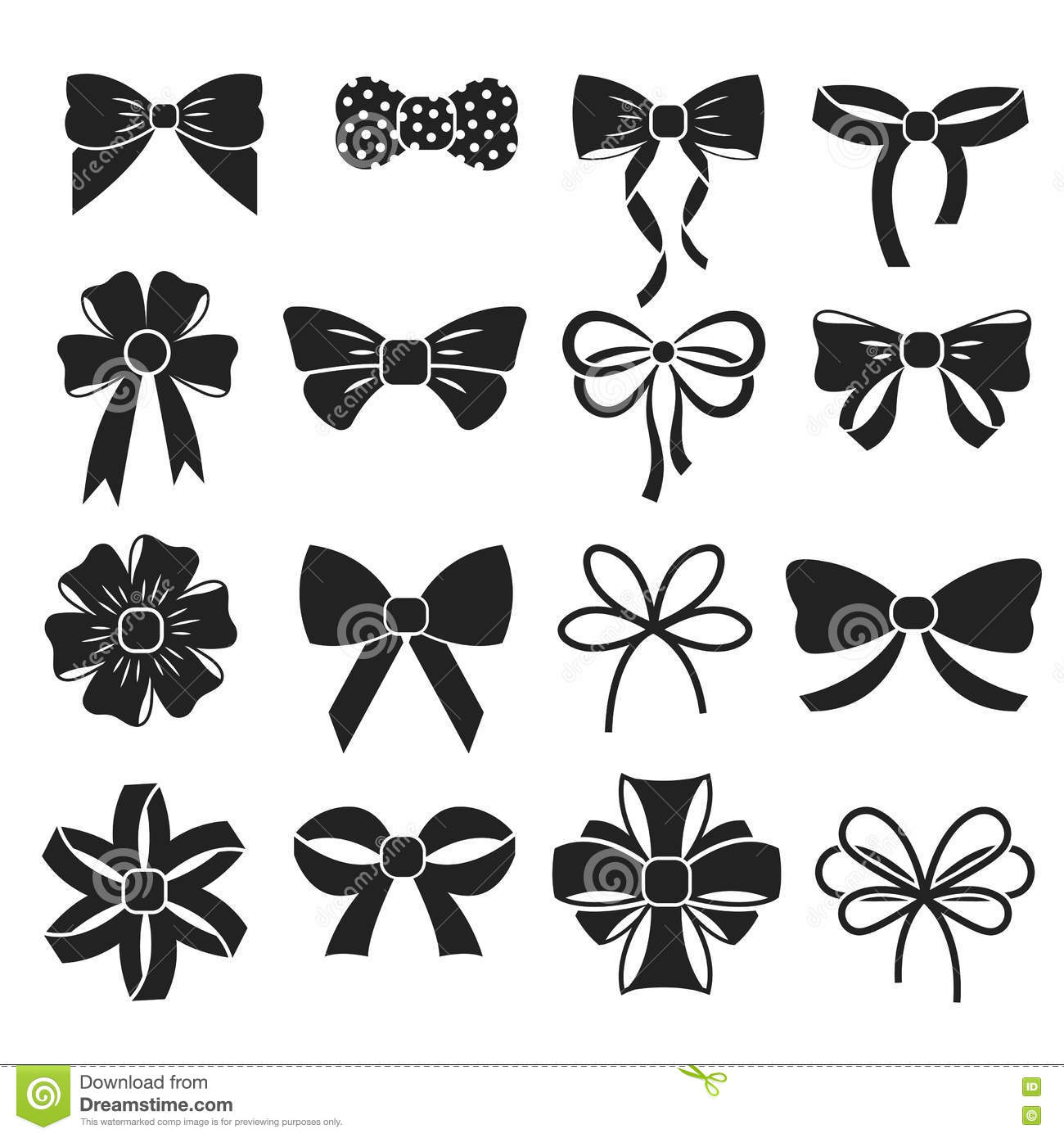 Holiday T Christmas Bows Vector Set Stock Vector