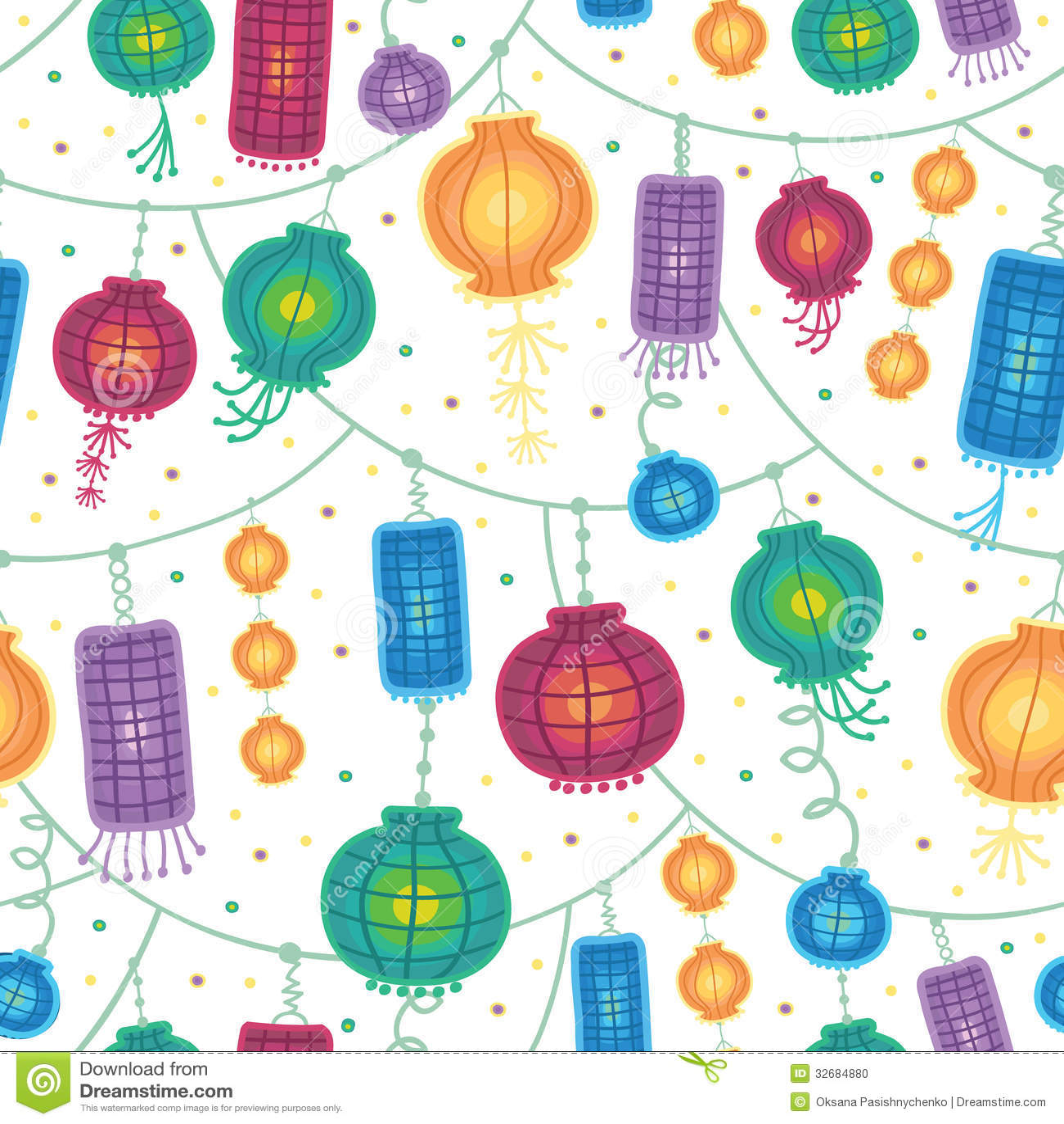 holiday lanterns seamless pattern