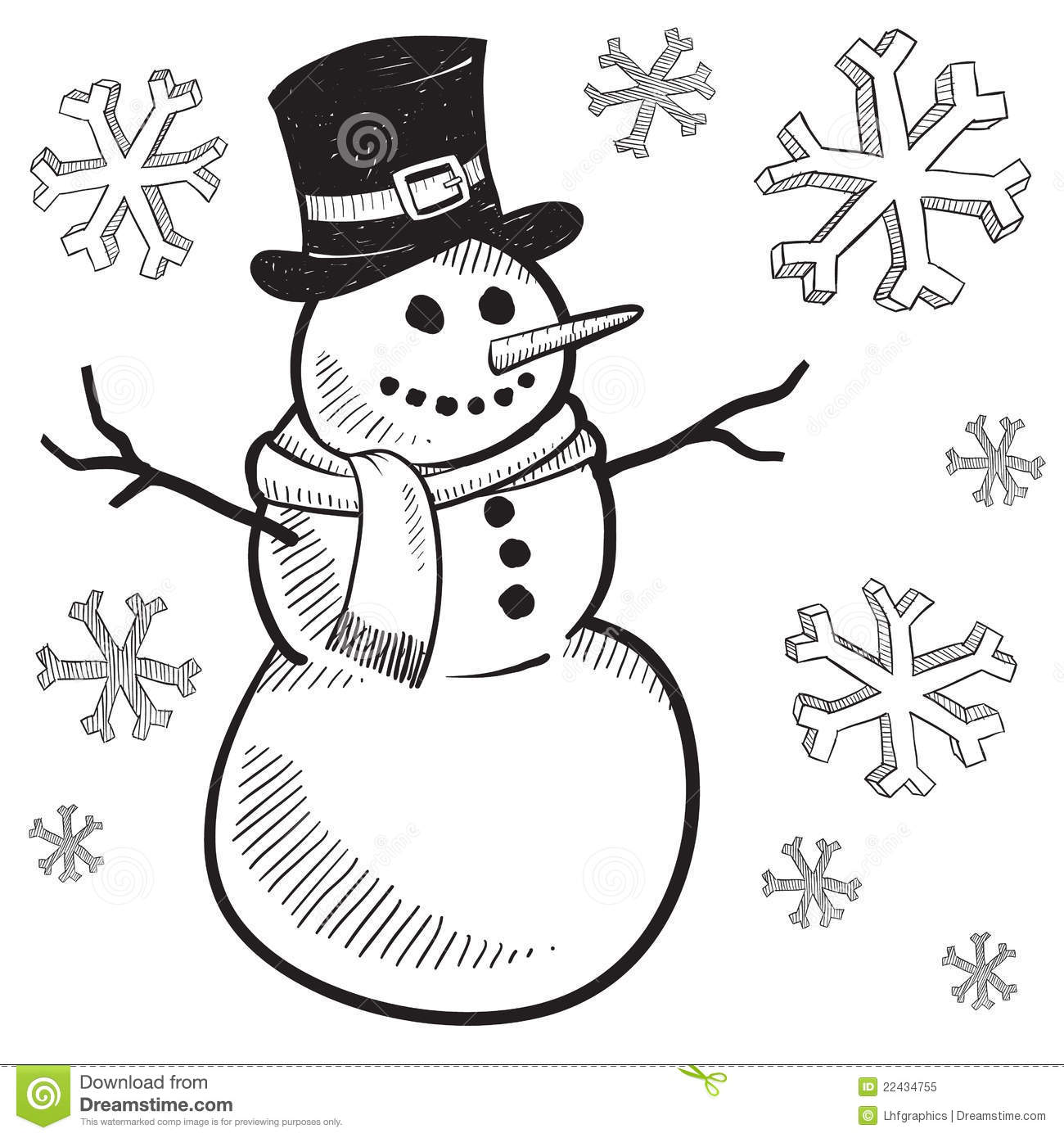 Holiday Snowman Drawing Stock Vector Illustration Of