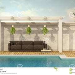 Wooden Sofa Below 20000 Bed Lounge Suite Sydney Holiday Villa With Pool Stock Illustration