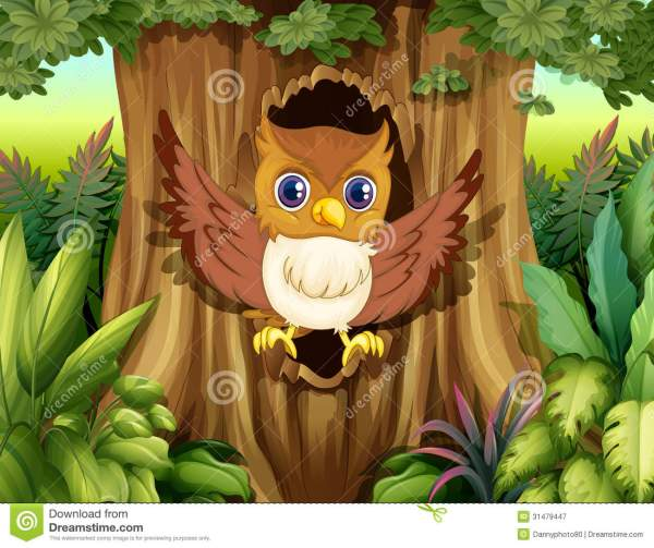 Hollow Tree With Owl Stock Vector. Illustration Of Grass - 31479447