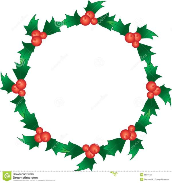 holly berry wreath stock vector