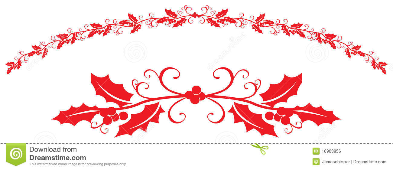 Holly Borders Stock Vector Illustration Of Berry Ribbon