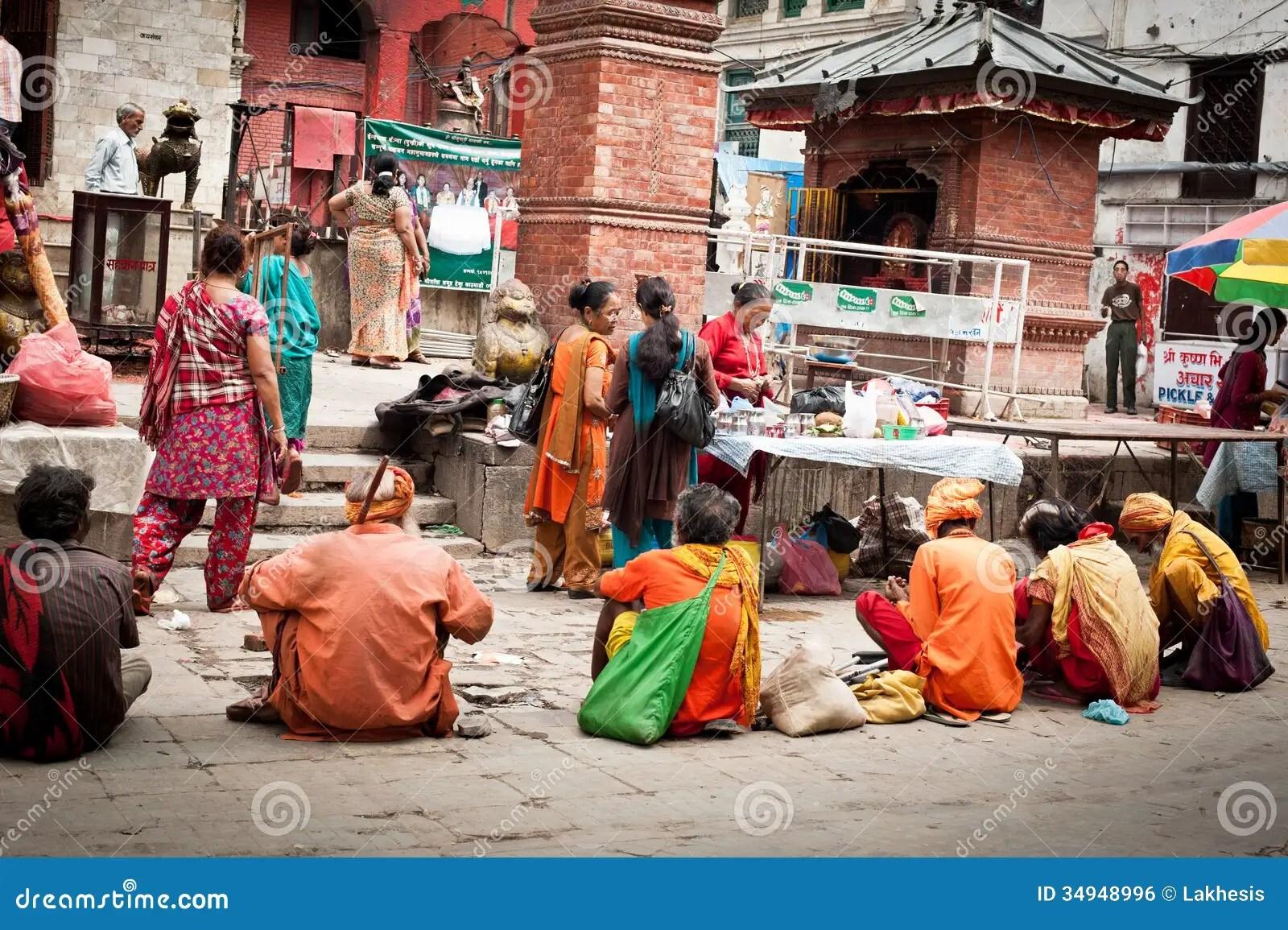 Holy Sadhu Men Blessing People At Hindu Temple Nepal KathmanduDurbar Square Editorial Photo