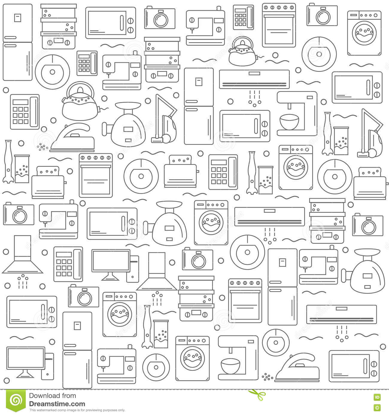 Home Appliances. Background With The Image Of Home