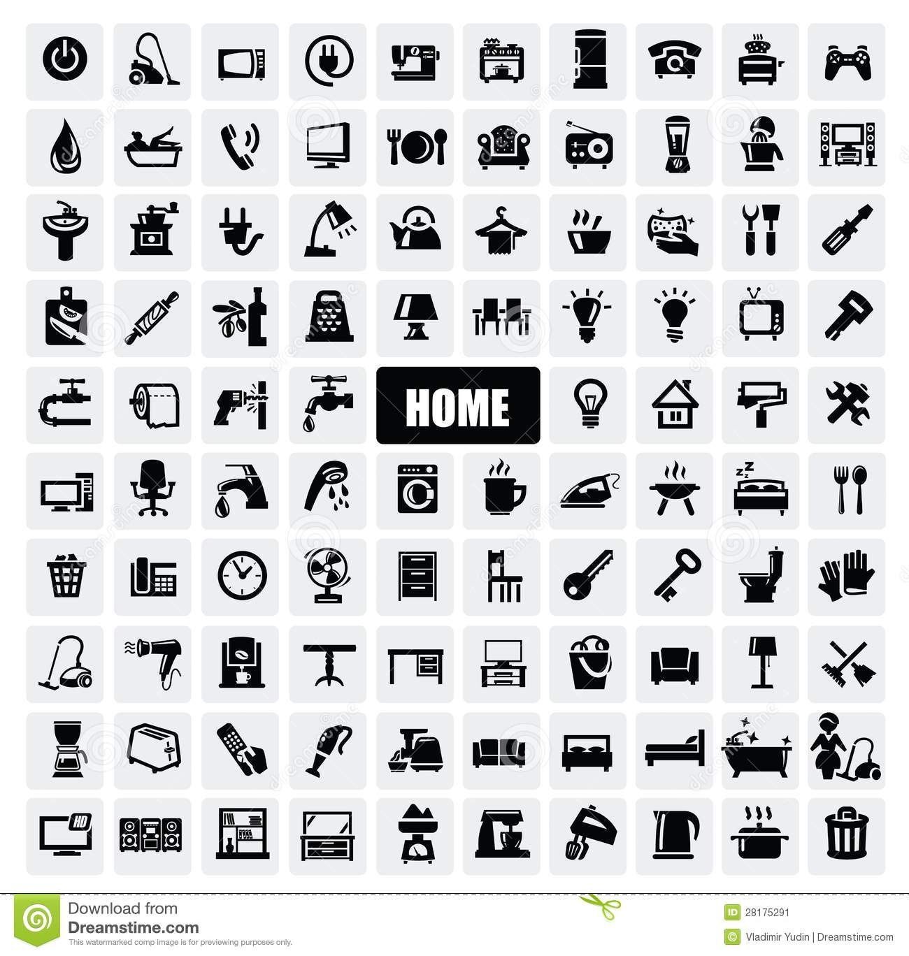 Home appliances icons stock vector. Illustration of