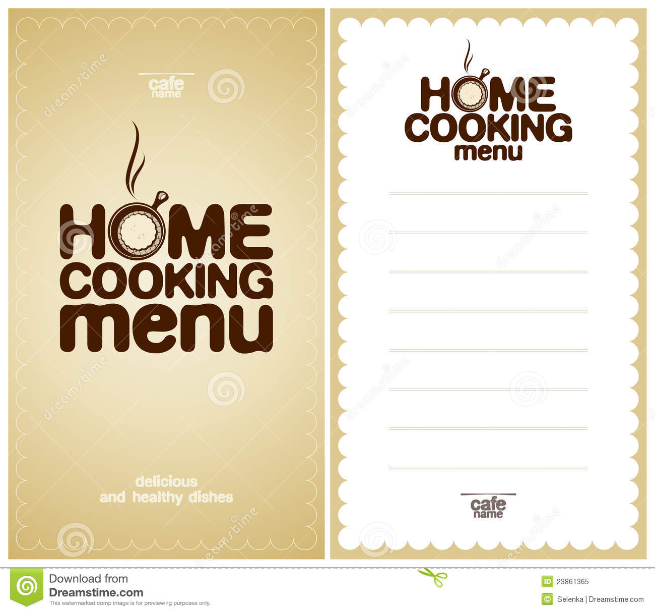 Home Cooking Menu Design Template Royalty Free Stock