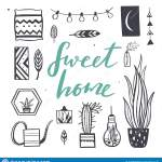 Home Decor And House Plants Vector Hand Drawn Set Home