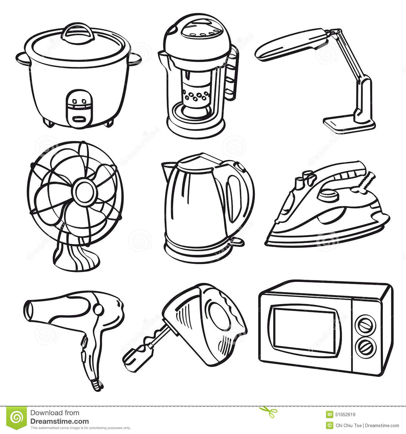 Home Electric Appliances stock illustration. Illustration