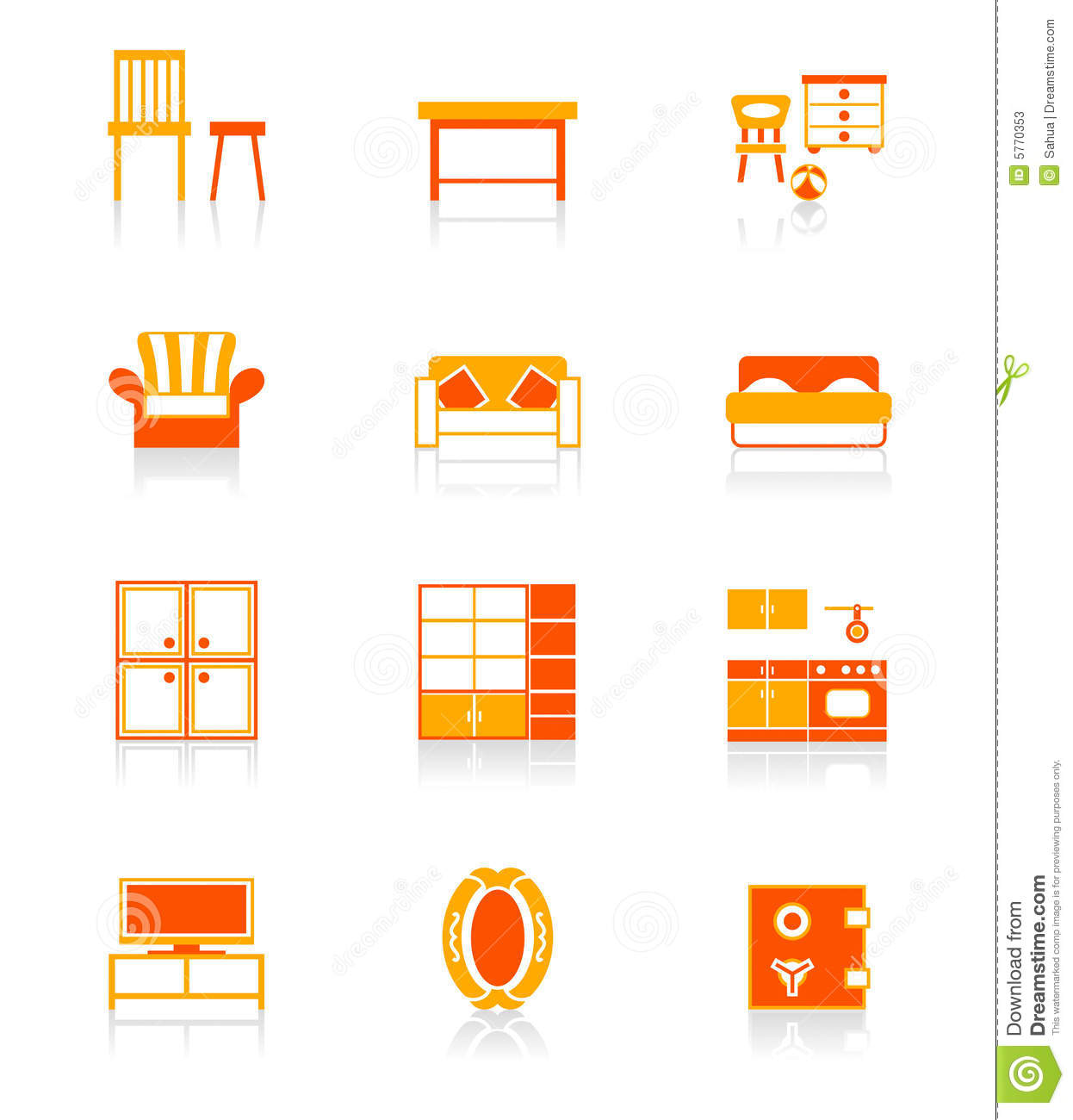 design of wood sofa set fizz foam fold out bed chocolate home furniture icons   juicy series stock vector - image ...