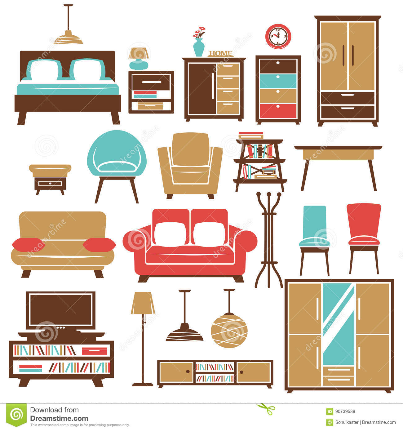 Home Furniture And Room Interior Accessories Vector Flat