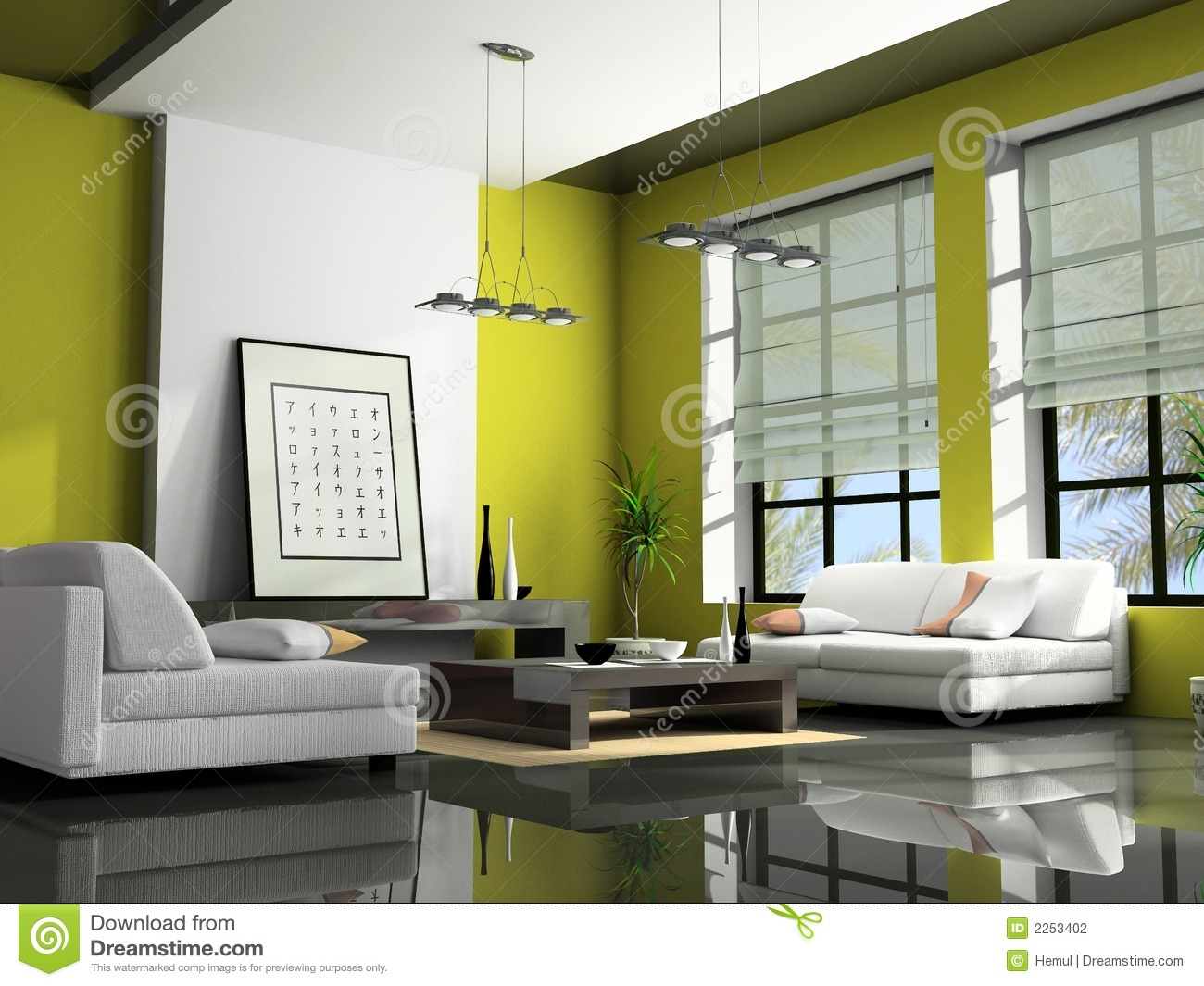 Home Interior 3D Rendering Stock Photo. Image Of