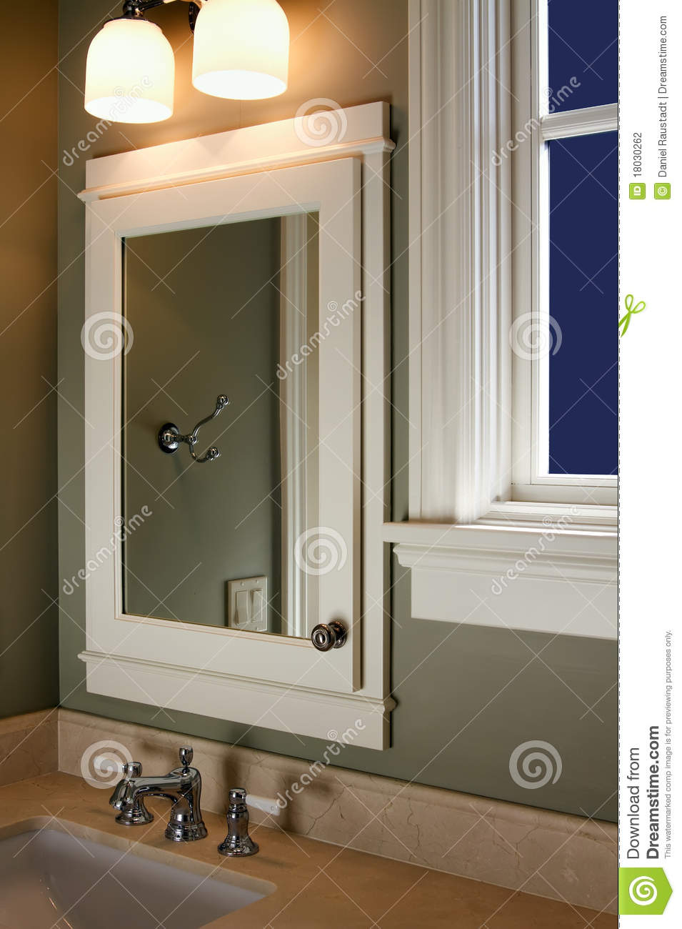 Home Interior Bathroom Mirror And Sink Stock Photo  Image