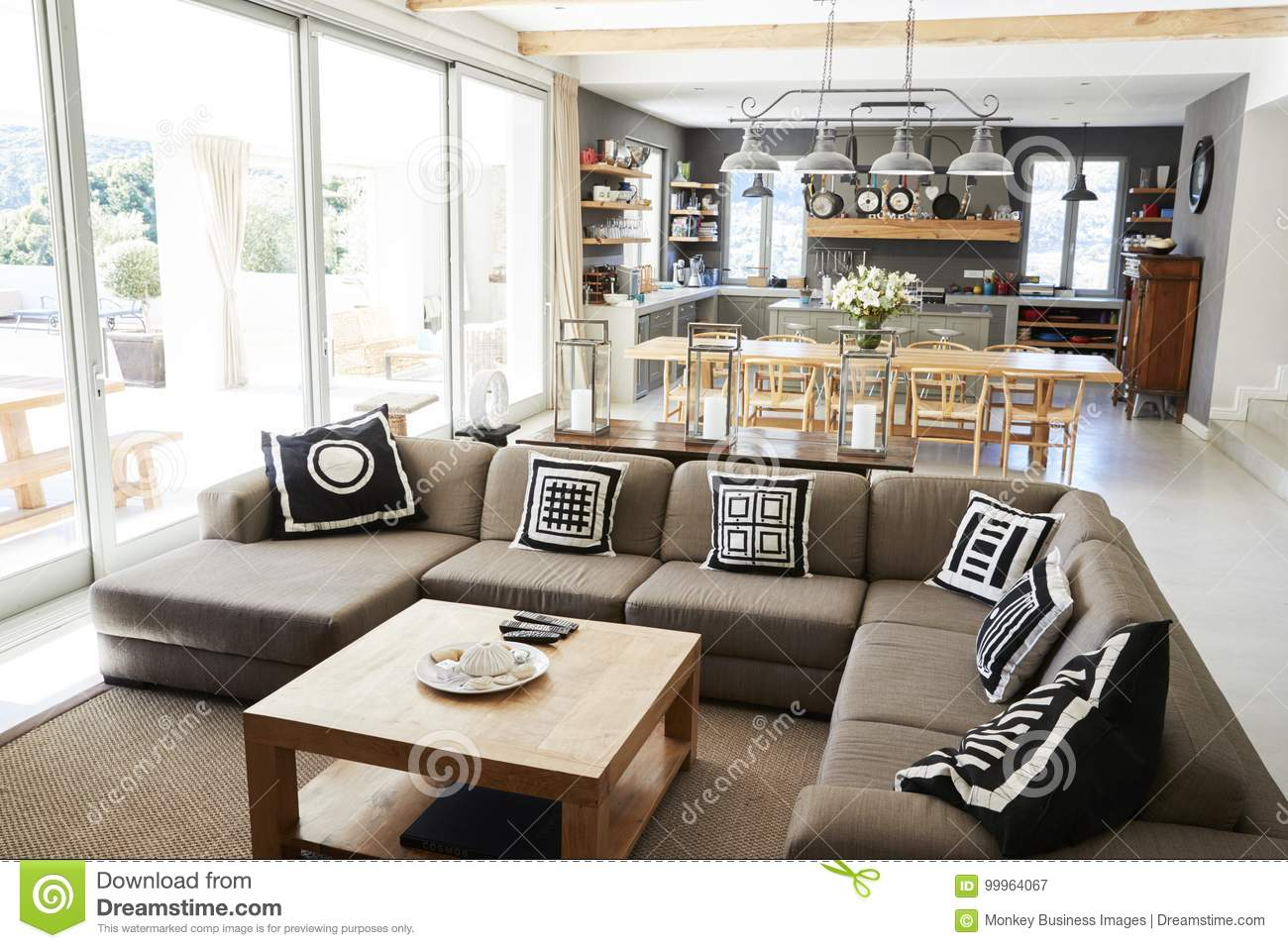 Home Interior With Open Plan KitchenLounge And Dining