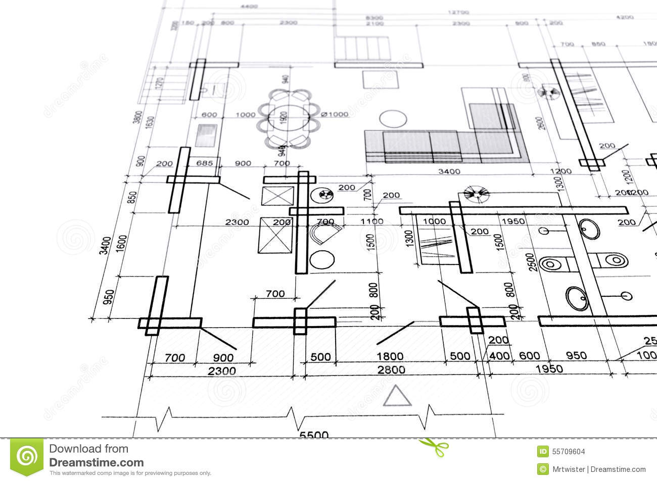 Home Interior Plan Stock Photo Image Of Measurement