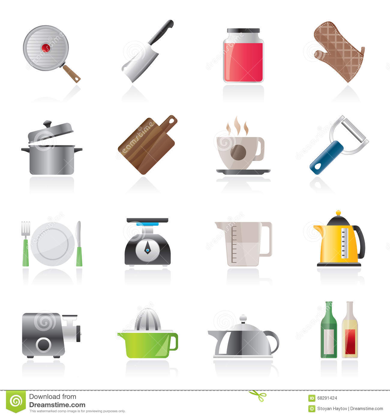 home kitchen equipment mobile islands for kitchens icons stock vector illustration of cutting