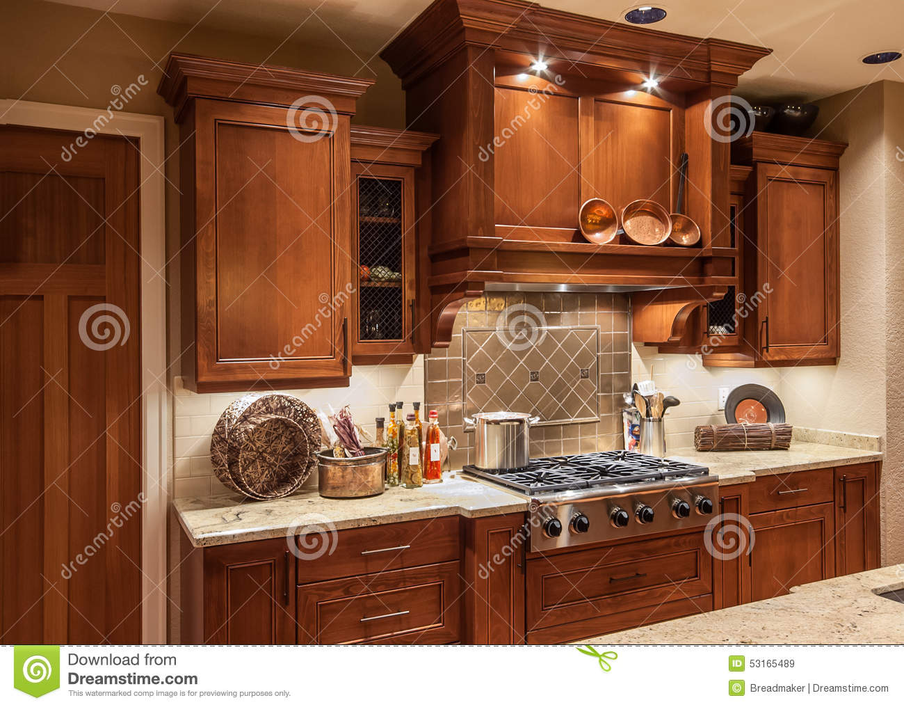 Home Kitchen Stove Top Range And Cabinets In New Luxury