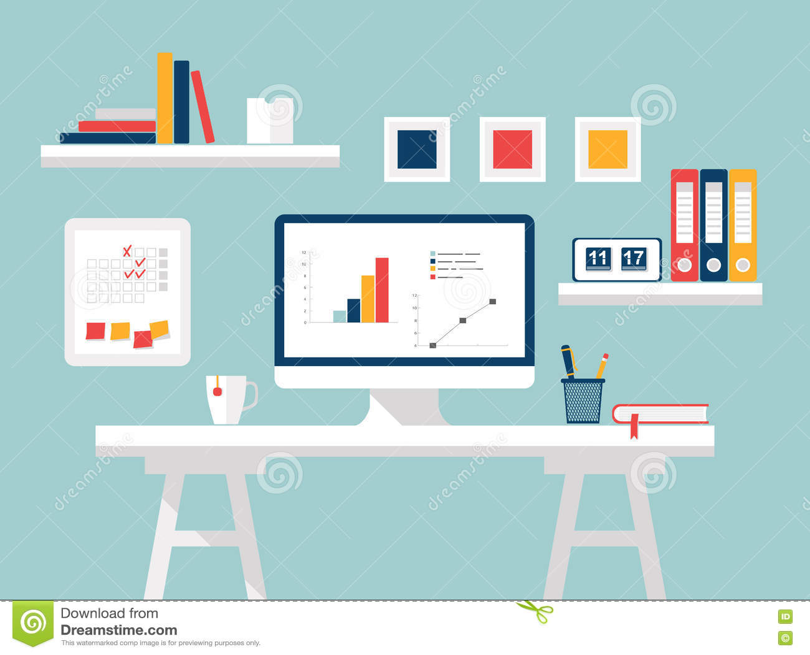 Home Office Flat Design Vector Illustration Of Modern