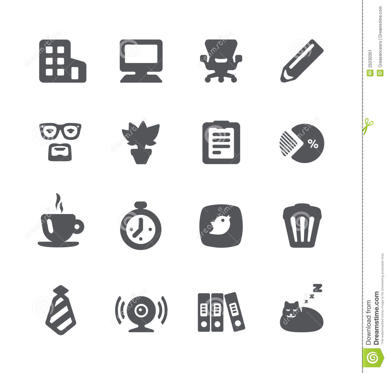 Home Office Icon Set Stock Image
