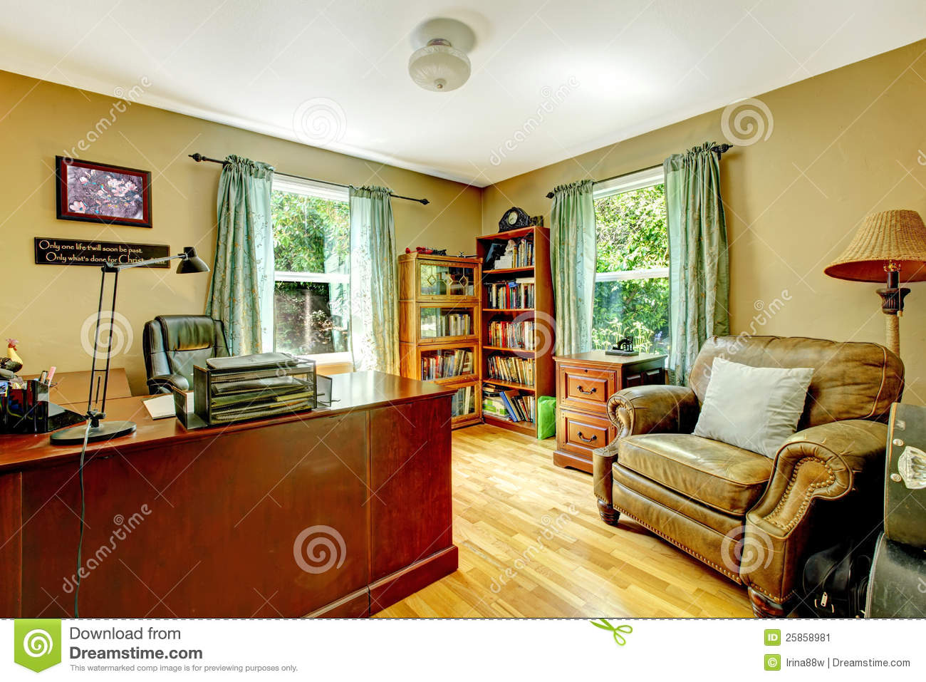 Home Office Interior With Green Walls And Wood Stock