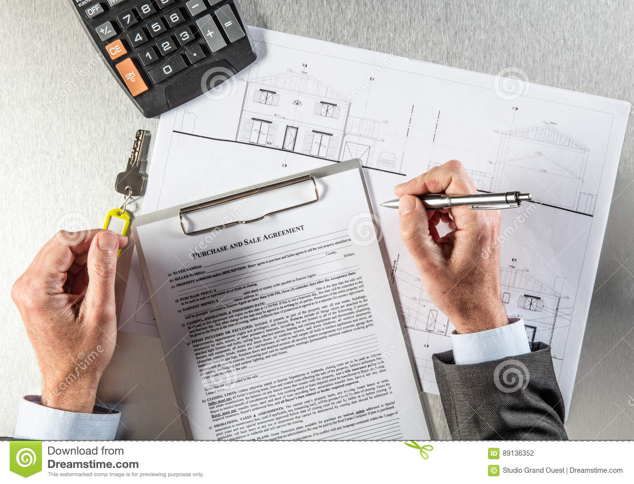 Download Home Owner With Blue Print And Key Writing Purchase Agreement  Stock Photo - Image Of
