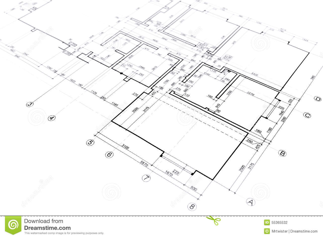 Home Plan Blueprint Stock Illustration