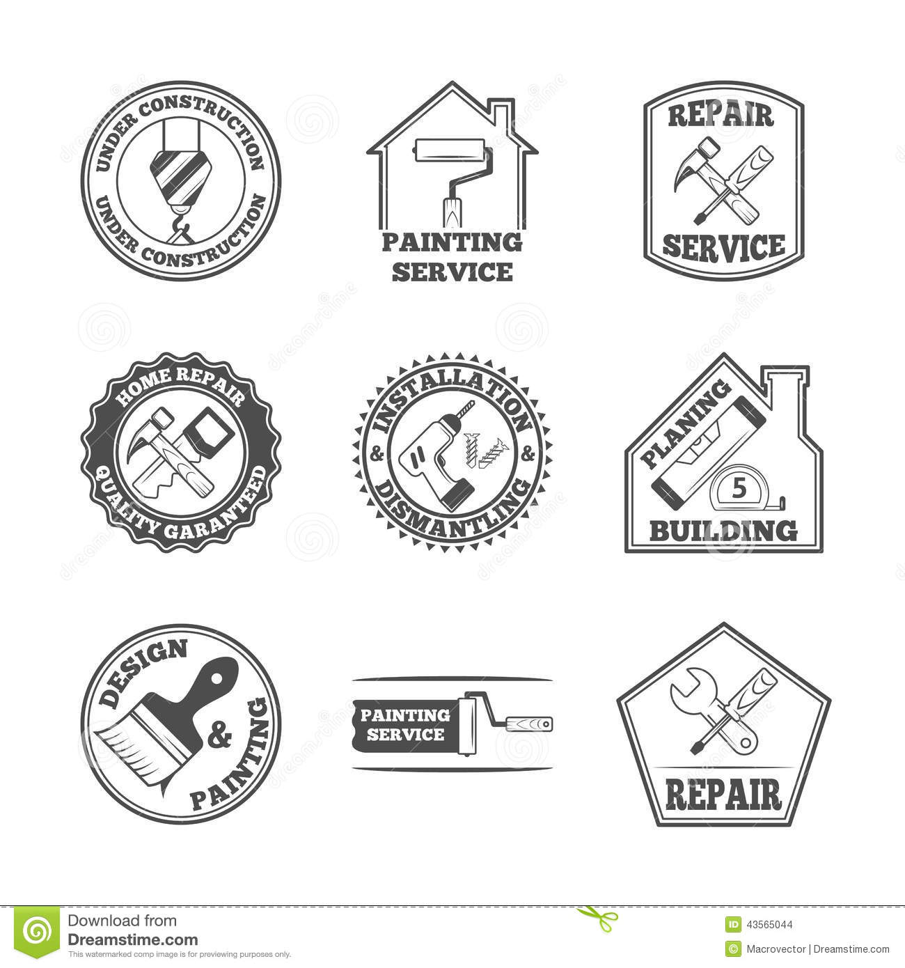 Home Repair Tools Labels Icons Stock Vector