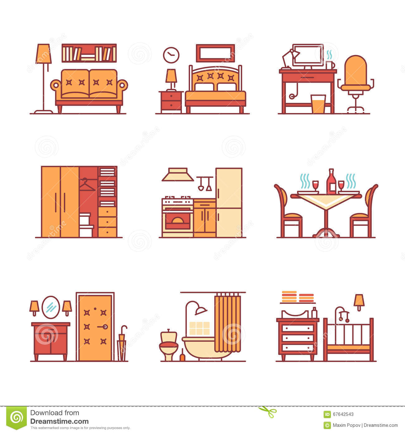 Home Room Types Furniture Signs Set Stock Vector