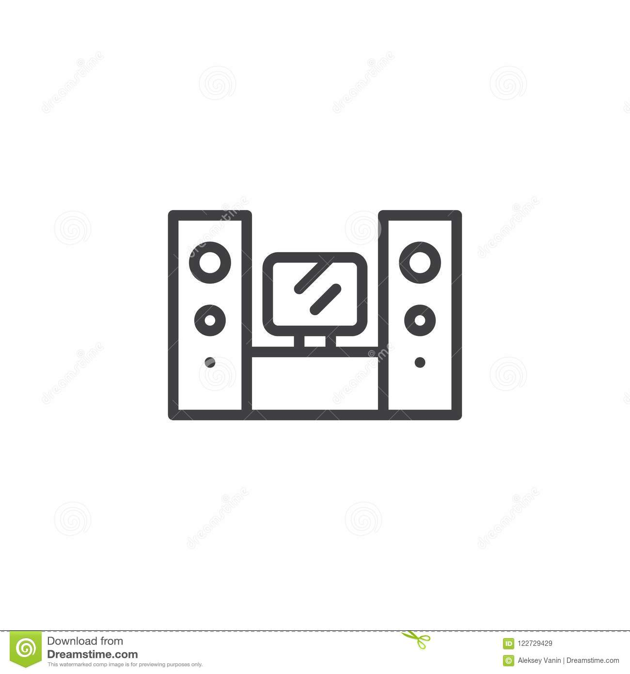 Home Theater System Outline Icon Stock Vector