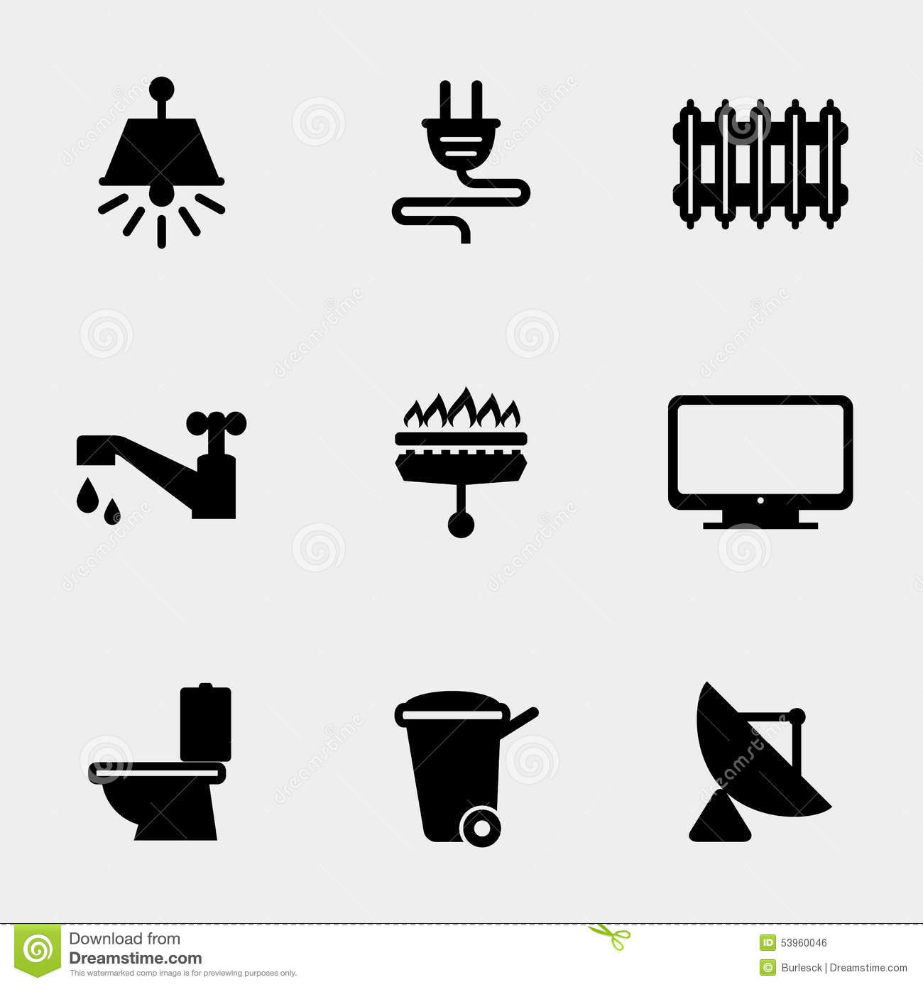 Home Utilities Icons Stock Vector