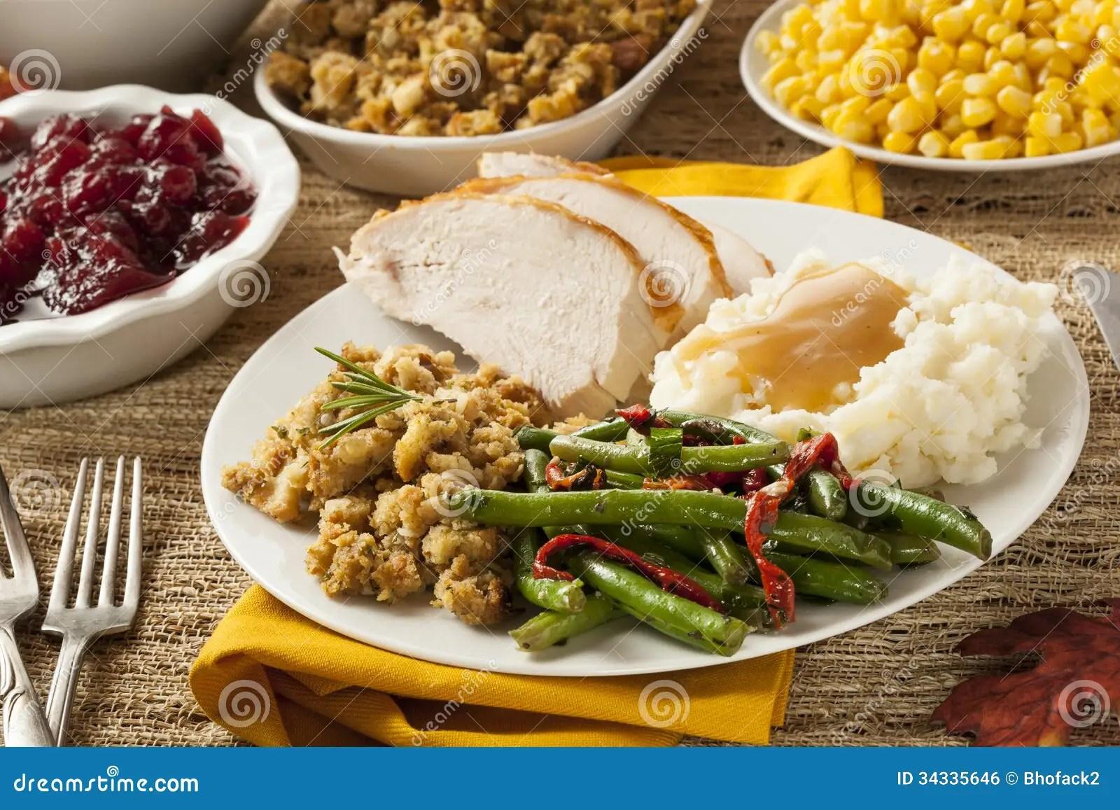 Homemade Turkey Thanksgiving Dinner Stock Photo  Image of