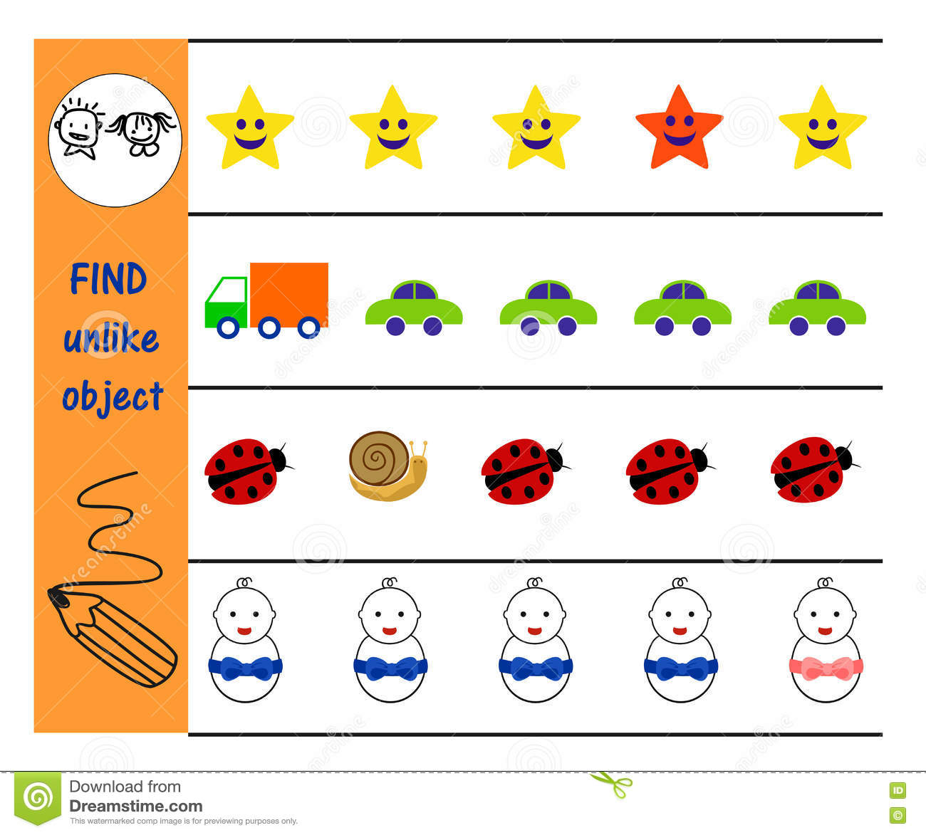 Find Extra Object In Row Educational Children Game Vector Illustration