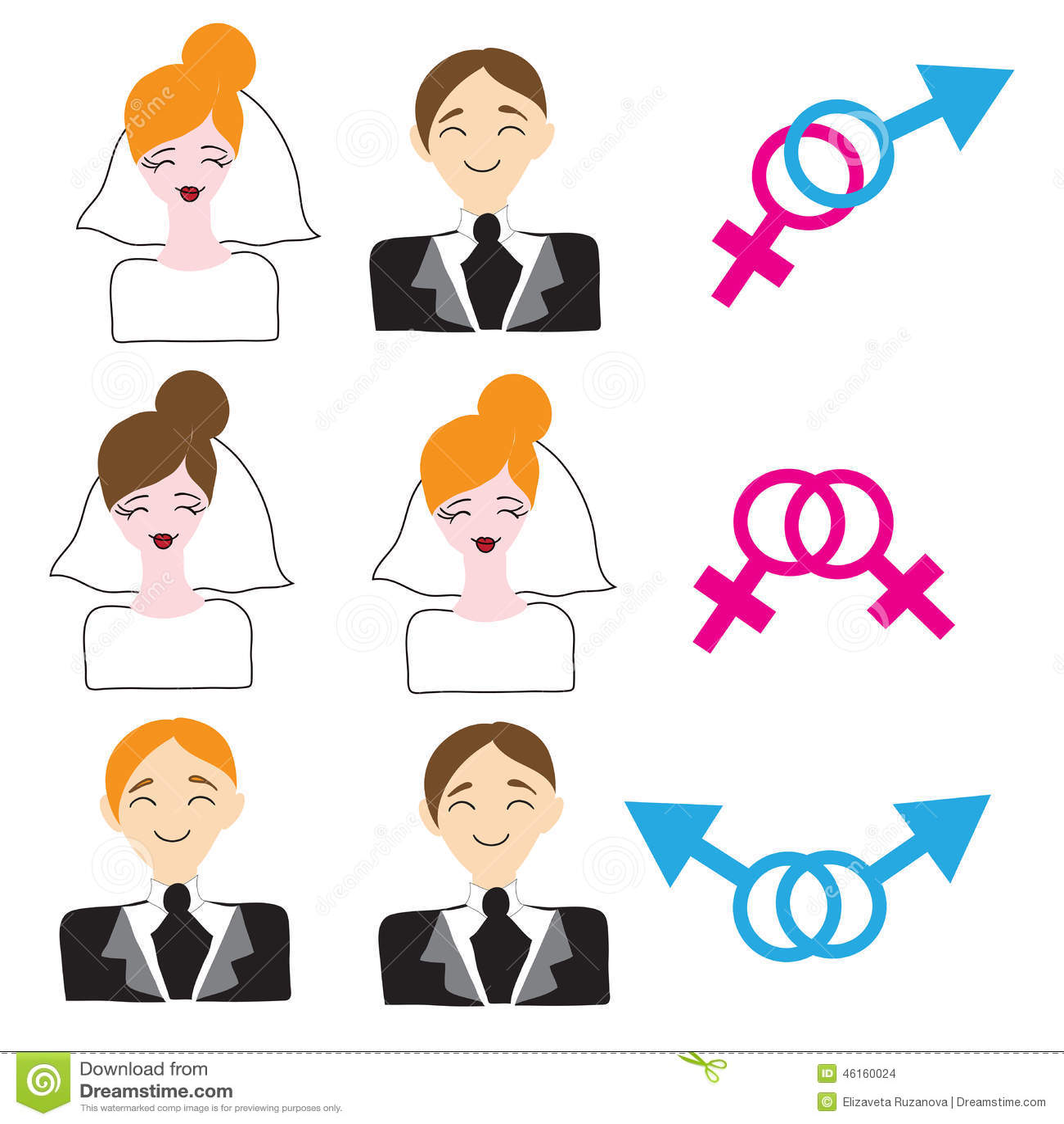 hight resolution of homosexual and heterosexual wedding icons