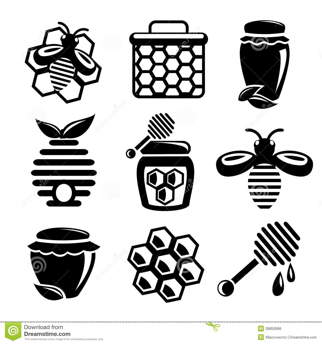 Honey icons set stock vector. Illustration of concept