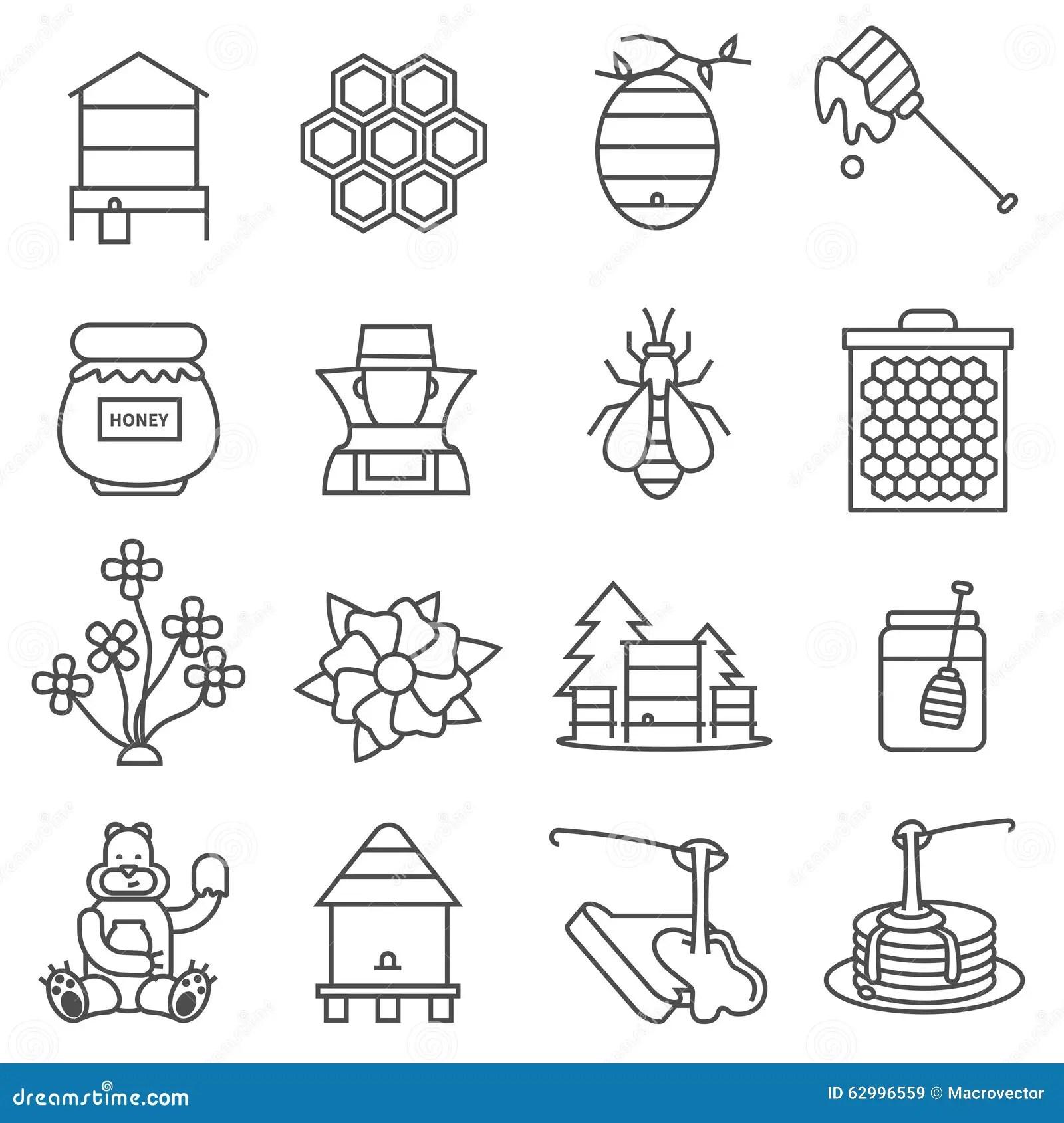 Honey Jar Line Icon, Food Drink Elements Cartoon Vector