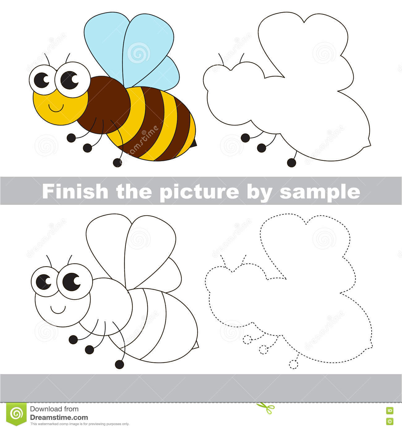 The Honeybee Drawing Worksheet Stock Vector