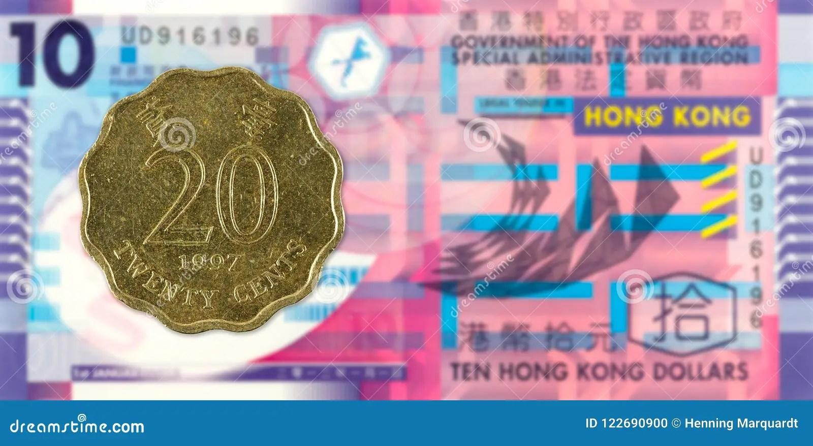 20 Hong Kong Cent Coin 1997 Against 10 Hong Kong Dollar Note Stock Photo - Image of against. image: 122690900