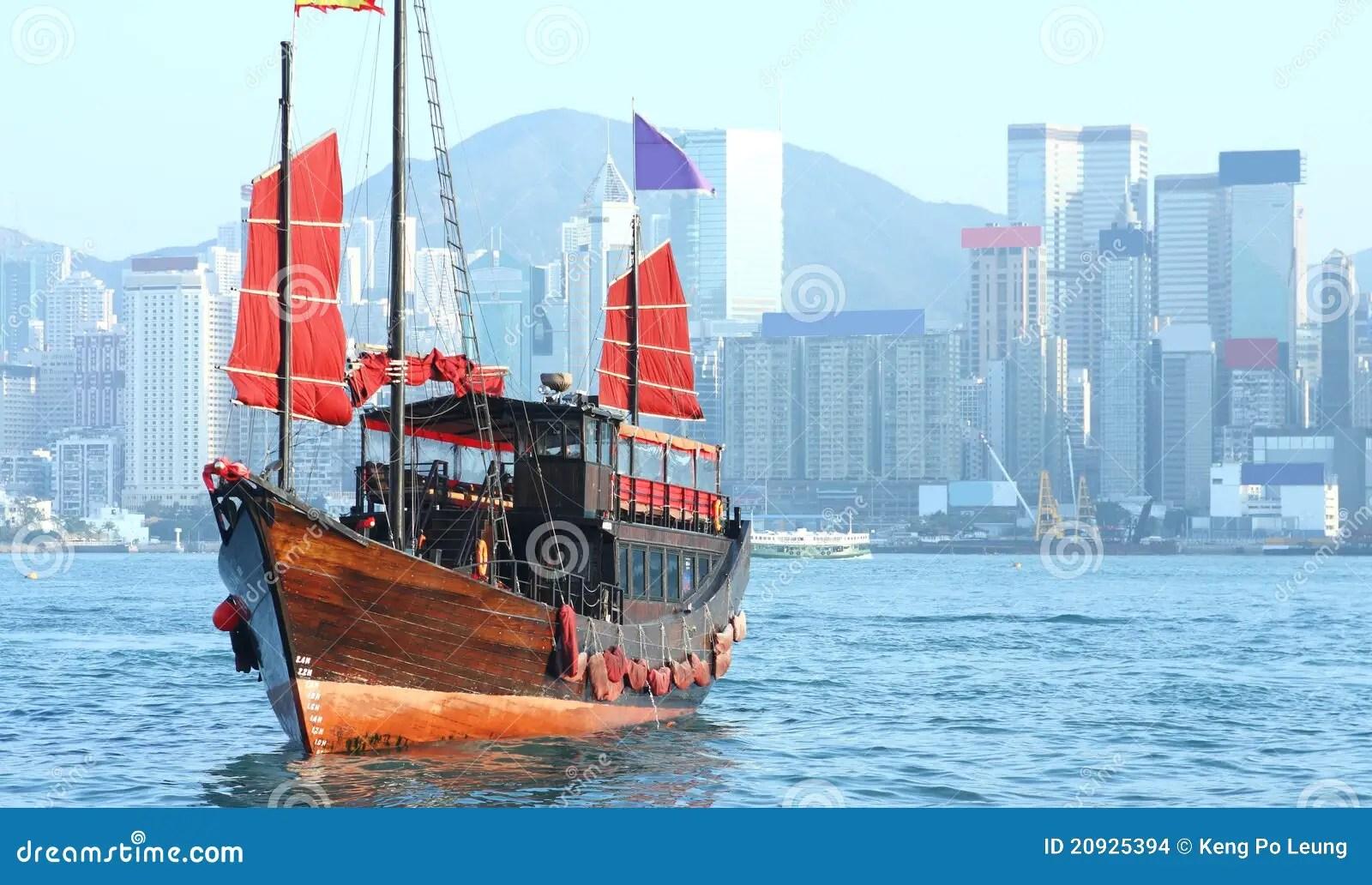 Hong Kong Junk Boat Stock Photo Image Of Modern Famous