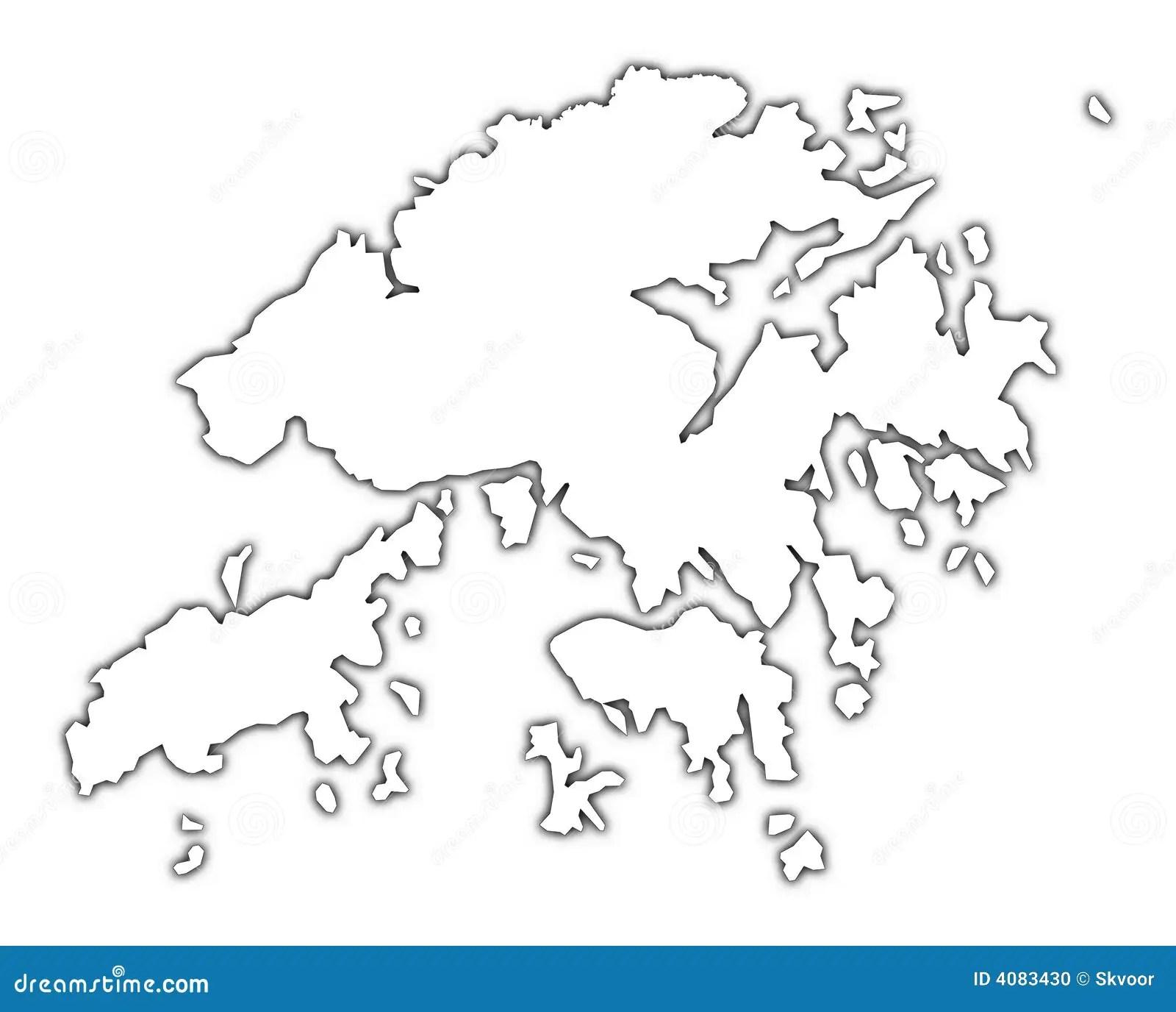 Hong Kong Map With Shadow Stock Illustration Illustration