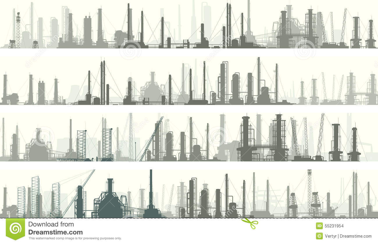 Horizontal Banners Industrial Part Of City Stock Vector