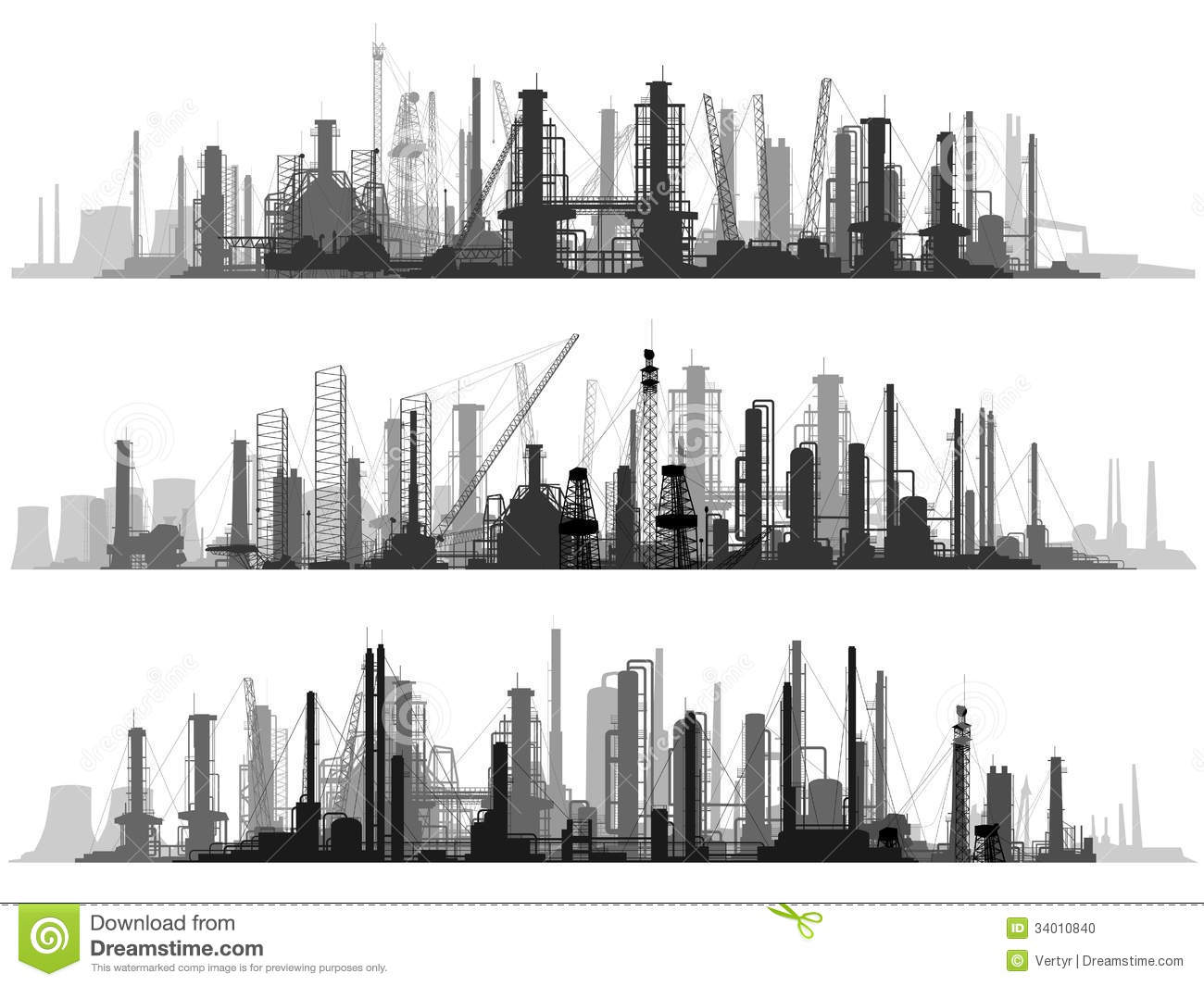 Horizontal Illustration Set Industrial Part Of City Stock