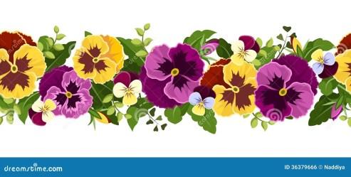 horizontal flores pansy flowers fundo purple yellow sem perfeito amor seamless leaves emenda horizontale naadloze achtergrond met imagem amarelas flor