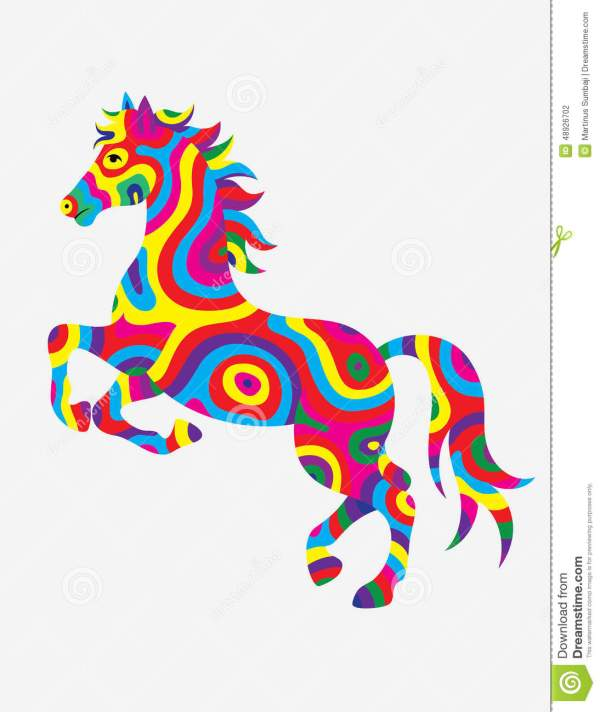 Horse Abstract Color Stock Vector. Illustration Of Print