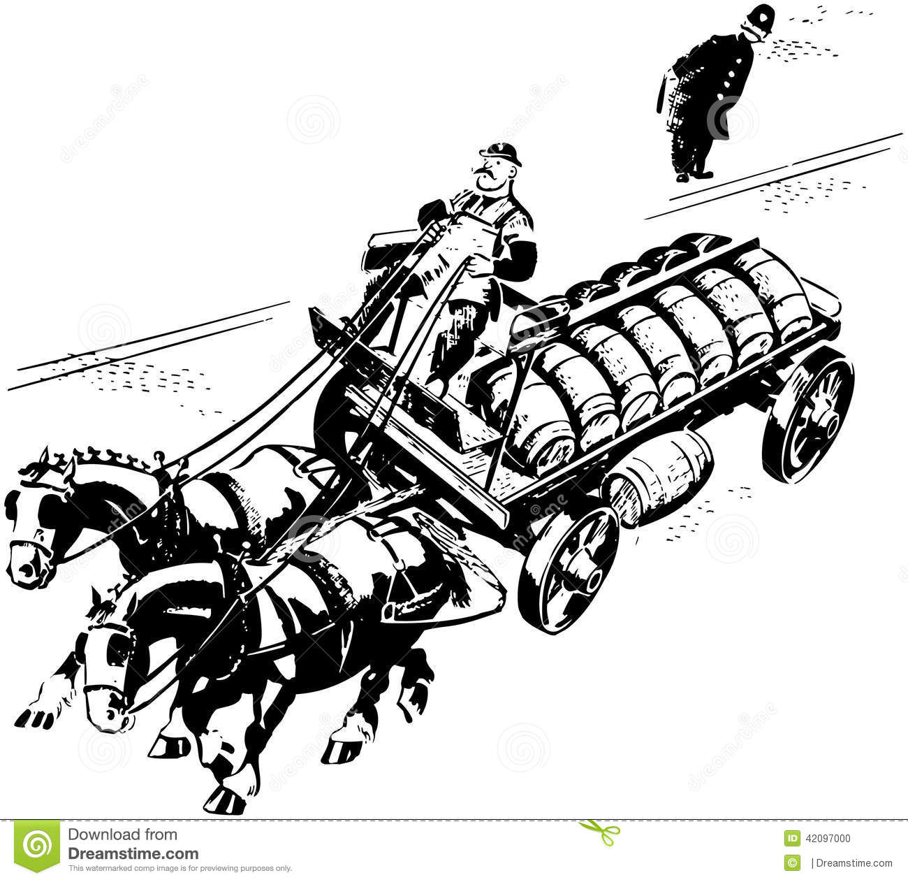 Horse And Cart Delivery Stock Vector
