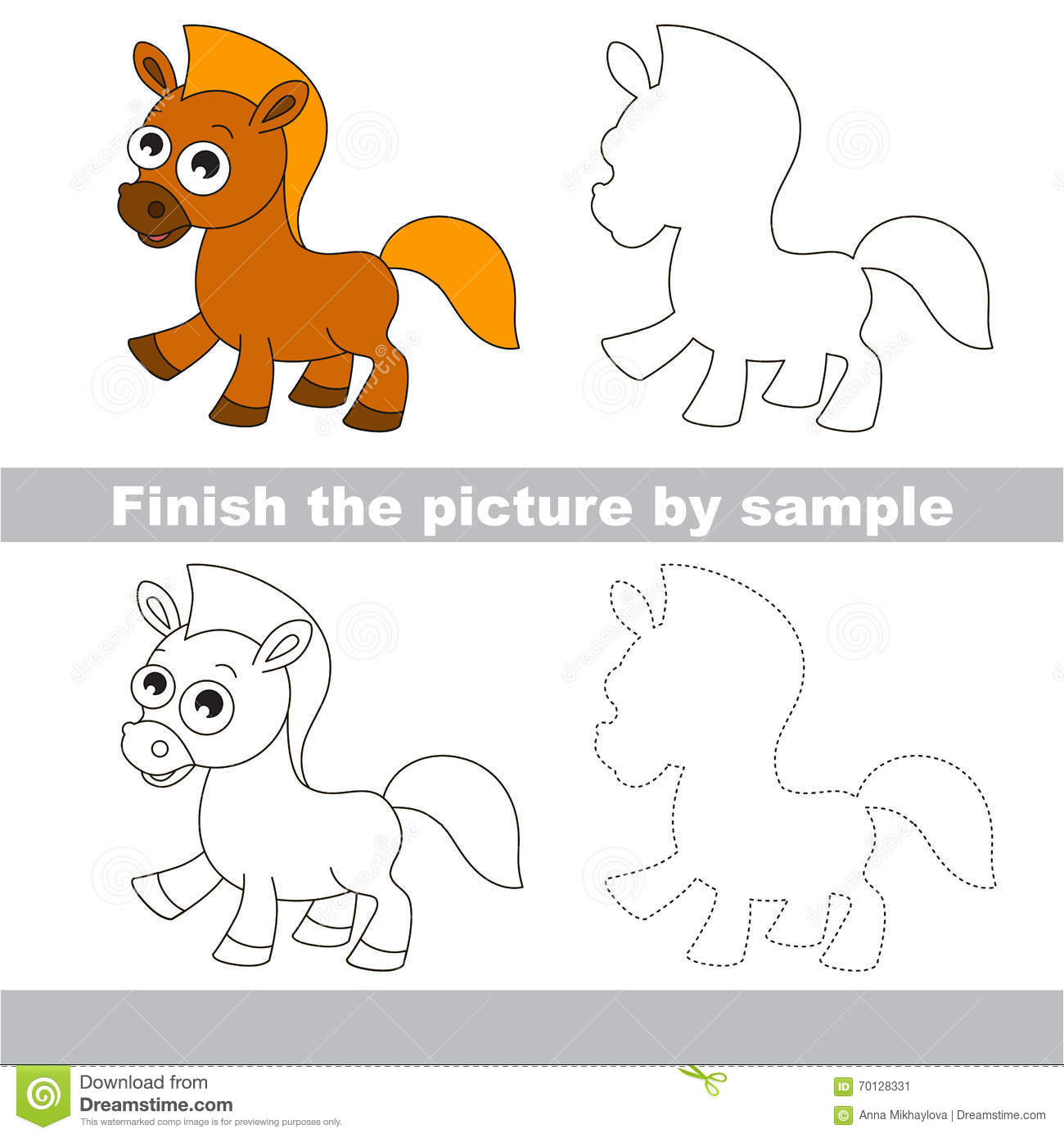 Horse Drawing Worksheet Stock Vector Illustration Of