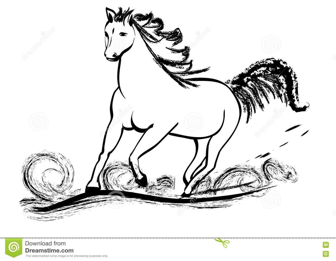 Horse Galloping With Flying Mane Stock Image