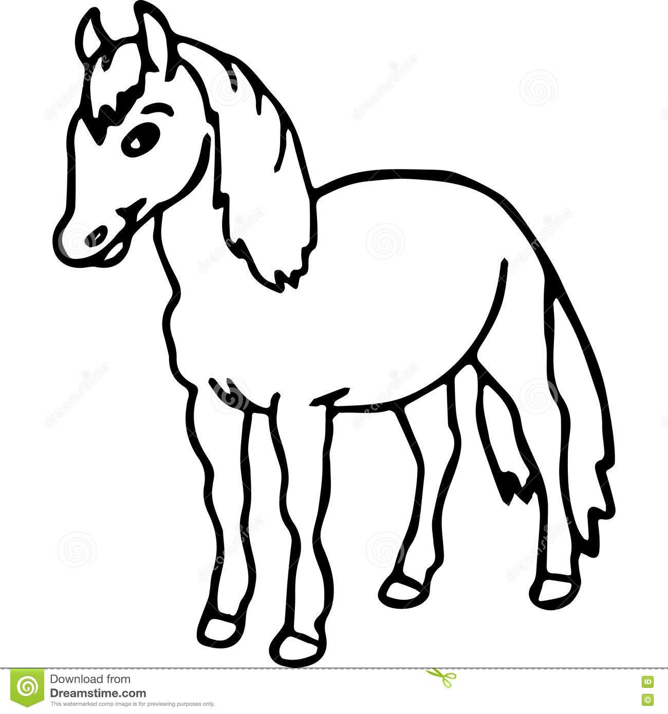 Horse kids coloring page stock illustration. Illustration