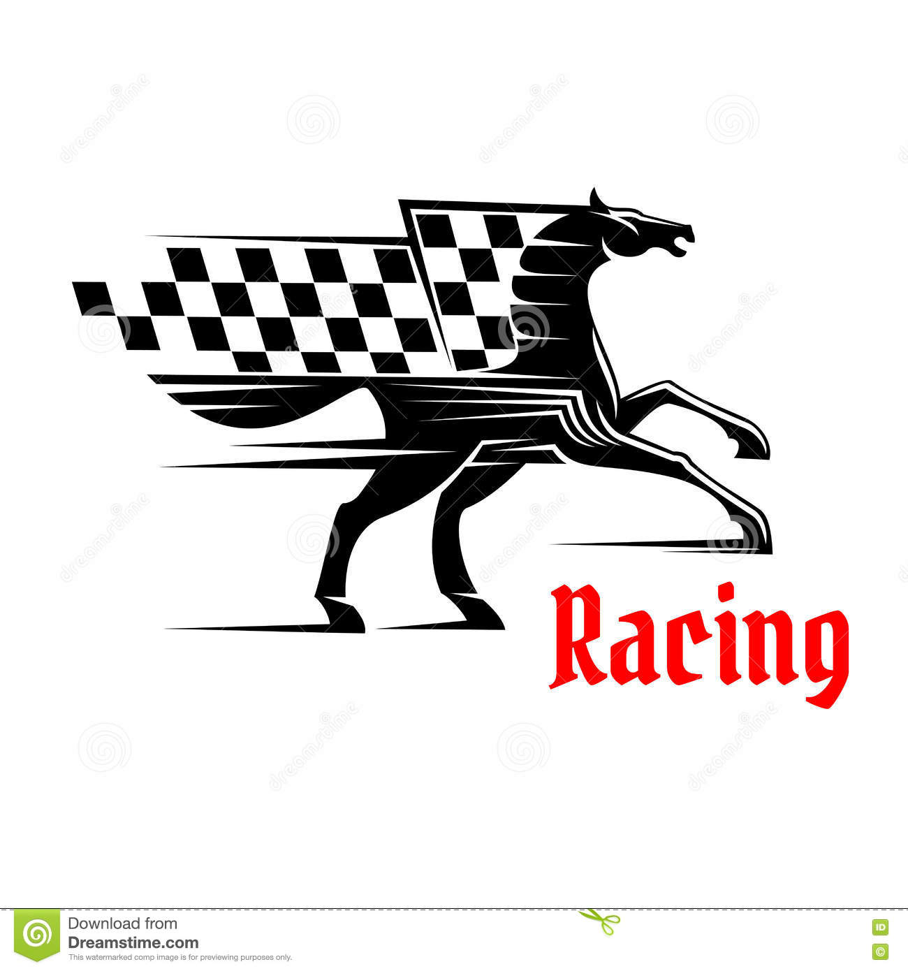 Horse Race Icon With Racing Checkered Flag Stock Vector