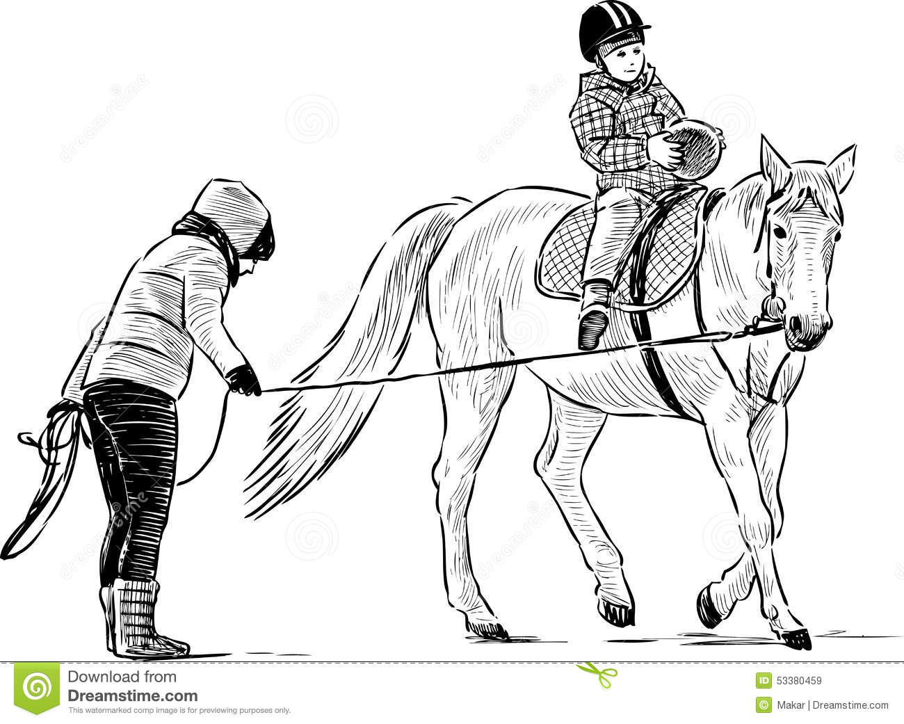 Horse riding lessons stock vector. Illustration of woman